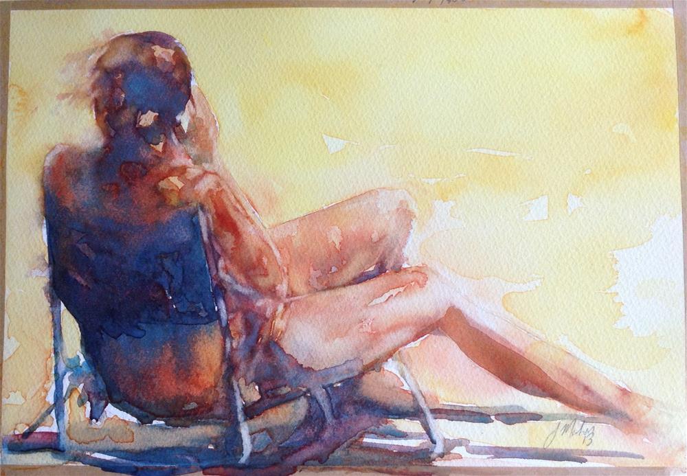 """Woman sitting on the beach."" original fine art by Joseph Mahon"