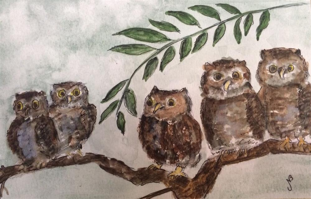 """And Then There Were Five watercolor 5 x8"" original fine art by Nancy Beard"