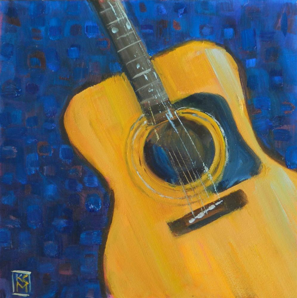 """Old Best Friend, 6x6 Inch Original Oil Painting Of A Guitar by Kelley MacDonald"" original fine art by Kelley MacDonald"