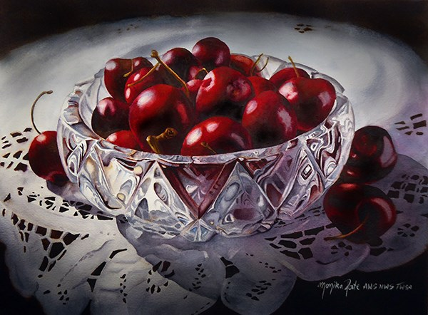 """Bowl of Cherries"" original fine art by Monika Pate"