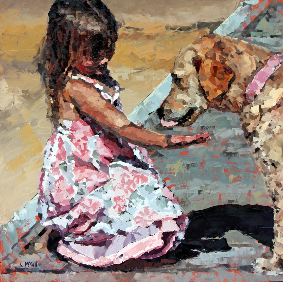 """Puppy Love III"" original fine art by Claire McCall"