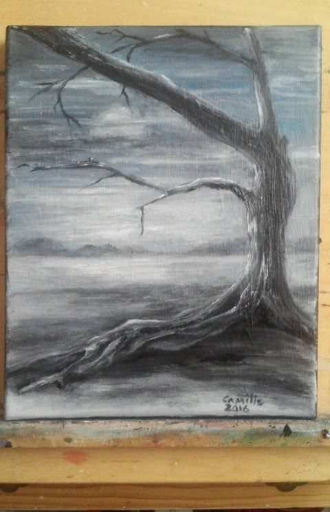 """Knarly Tree Silhouette Grey Landscape"" original fine art by Camille Morgan"