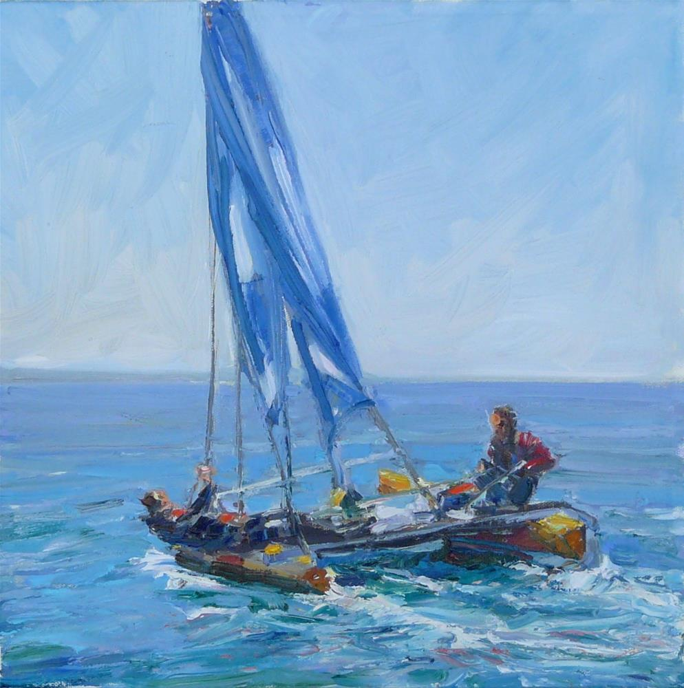 """New Sail Boats,figure,oil on canvas,14x14,priceNFS"" original fine art by Joy Olney"