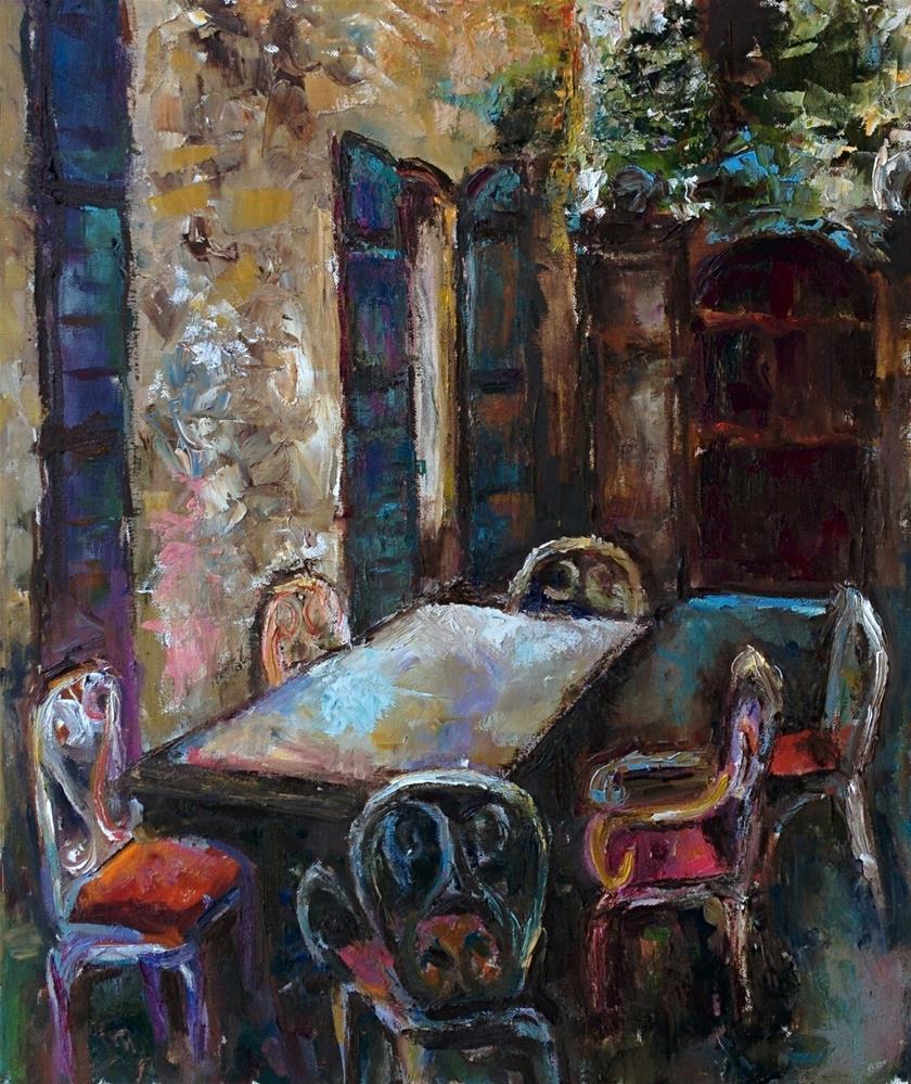 """Table Outside"" original fine art by pepa sand"