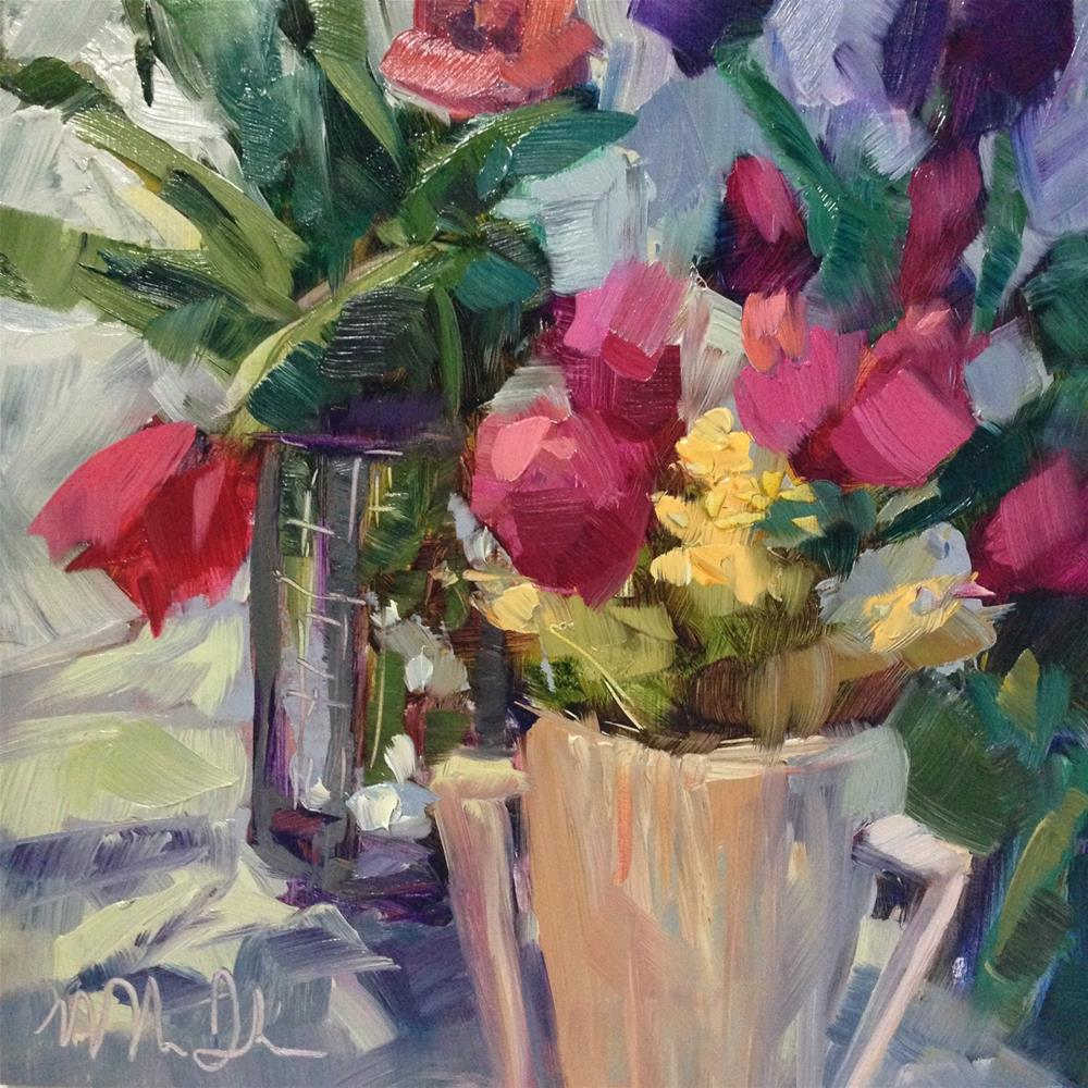 """""""Day 5 of 30 paintings in 30 days-Tabletop Tulips"""" original fine art by Melissa Jander"""