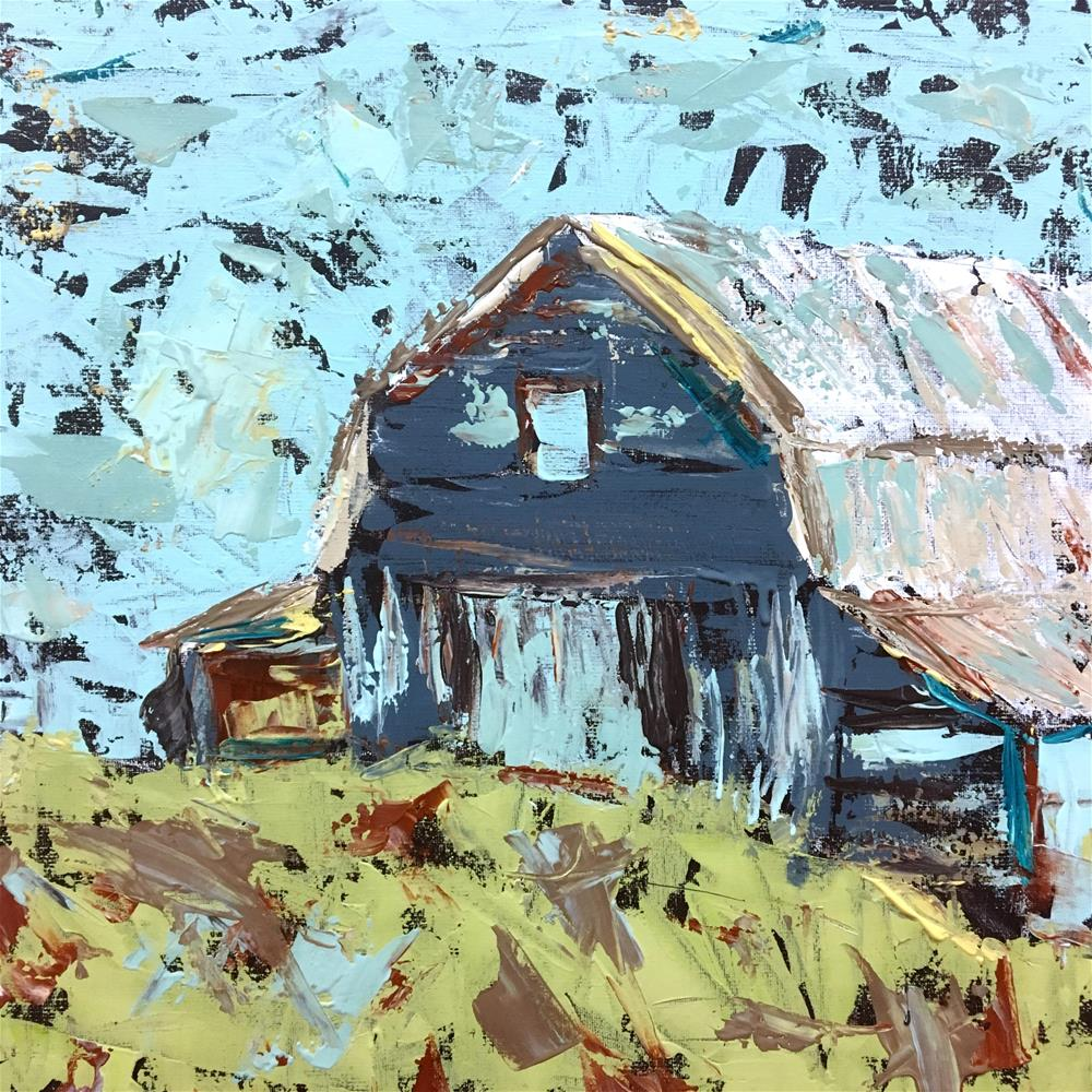 """Palette Knife Barn Class Demo"" original fine art by Susan Elizabeth Jones"