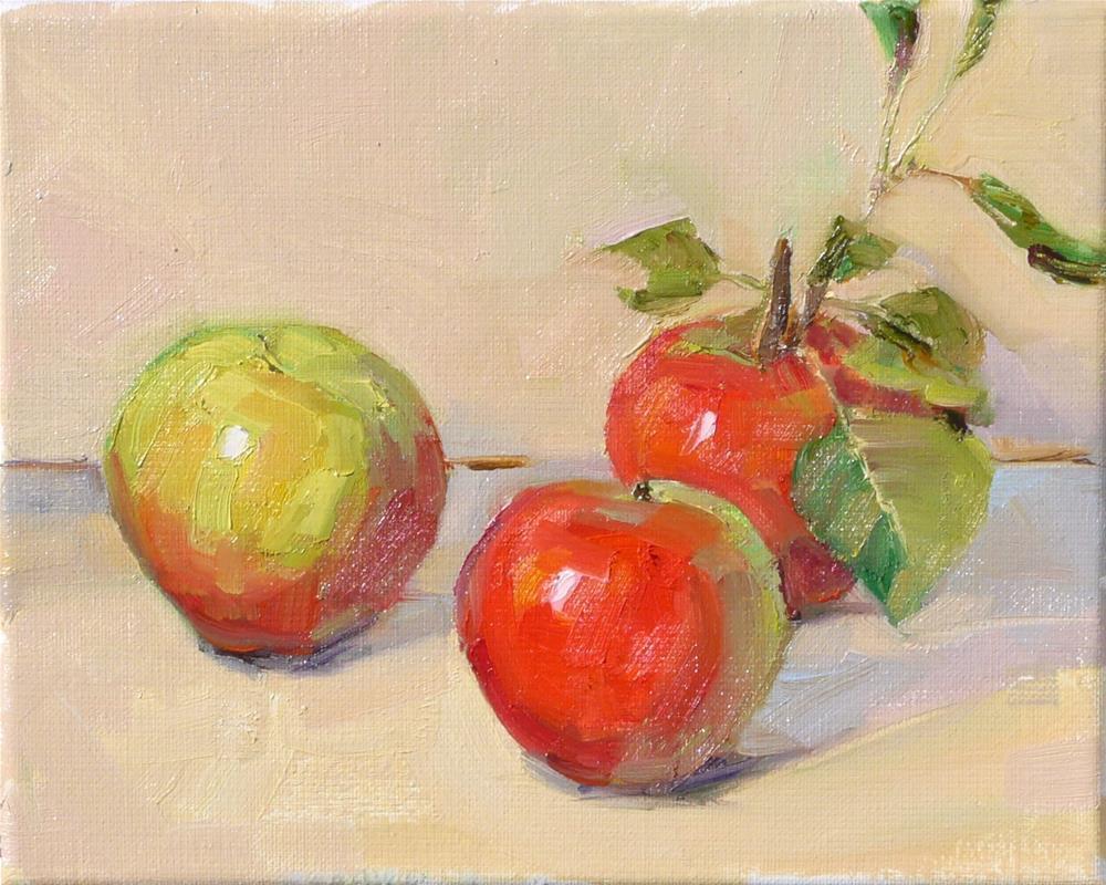 """Apple Harvest,still life,oil on linen,8x10,price$300"" original fine art by Joy Olney"