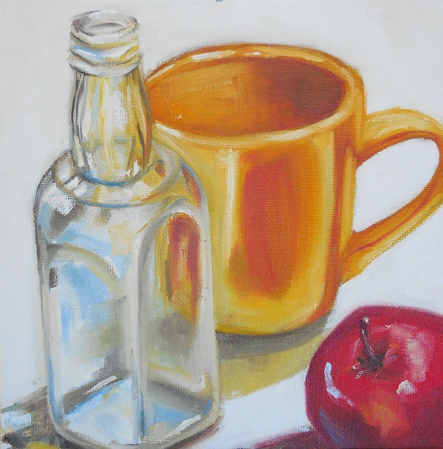 """Saved Bottle, Cup, & Apple"" original fine art by Beth Moreau"