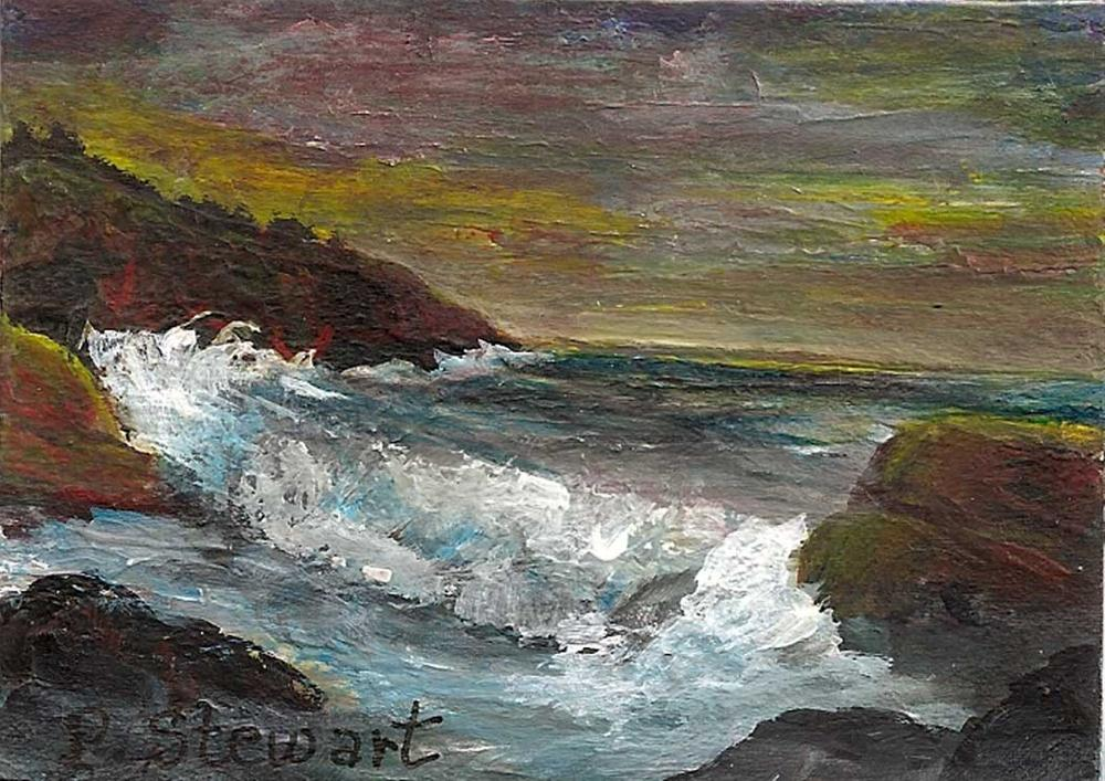 """""""ACEO Magnet Seascape Rocks and Waves"""" original fine art by Penny Lee StewArt"""