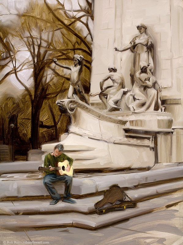 """Busking in Central Park"" original fine art by Rob  Rey"