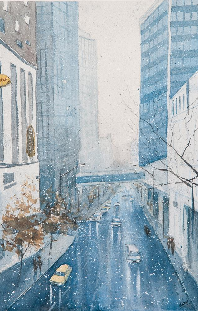 """Snow in the city"" original fine art by Tesh Parekh"