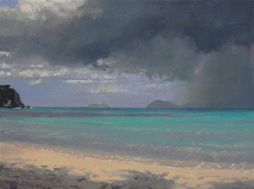 """Rain Over Jost Van Dyke"" original fine art by Ski Holm"
