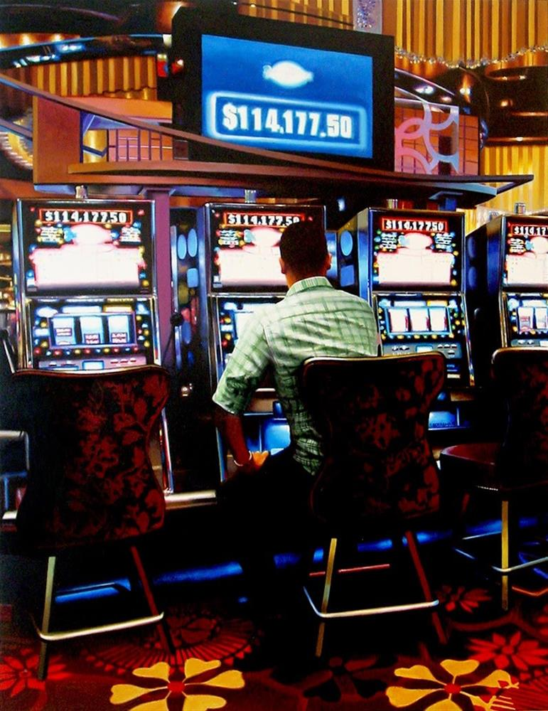 """Slot Machines- Painting Of Man Gambling In Las Vegas Hotel Lobby"" original fine art by Gerard Boersma"