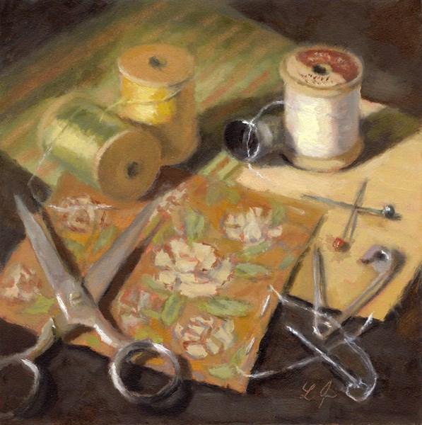 """""""Quilting"""" original fine art by Linda Jacobus"""