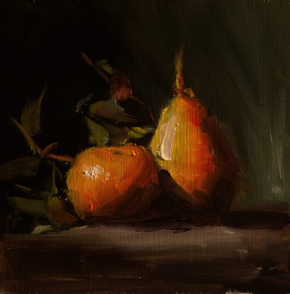 """Pear and Clementine"" original fine art by Neil Carroll"