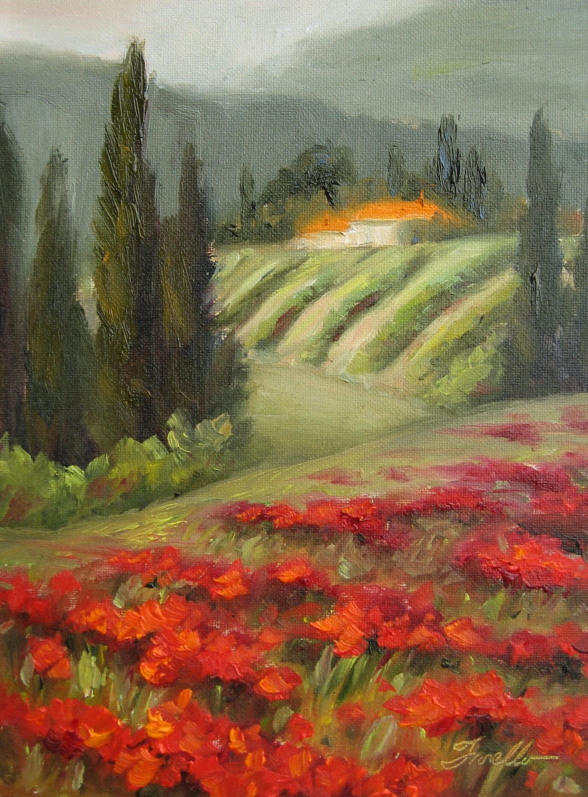 """Tuscany- Beyond the Poppies"" original fine art by Pat Fiorello"