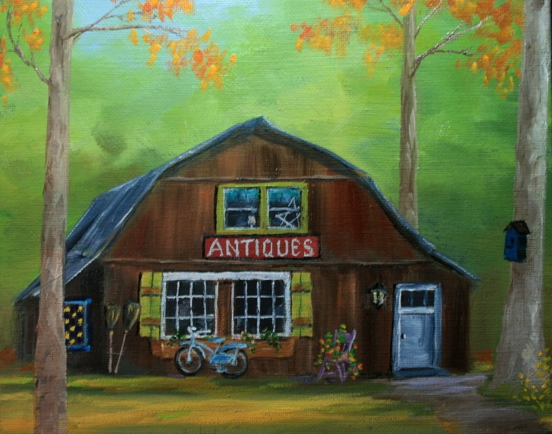 """Antiques in a Barn"" original fine art by Jean Nelson"