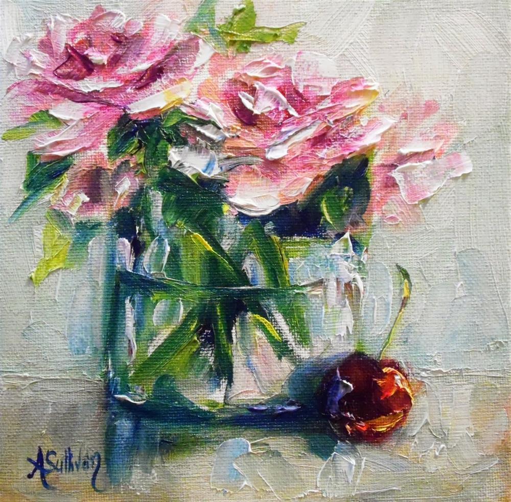 """""""Pink With A Cherry by Alabama Artist Angela Sullivan"""" original fine art by Angela Sullivan"""