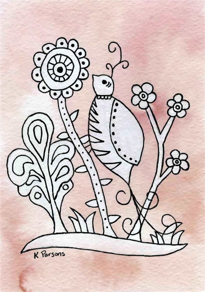 """Curly Top Bird, Mexican Bark Style"" original fine art by Kali Parsons"