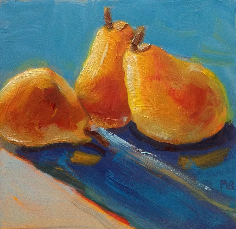 """Tipsy Pears"" original fine art by Marcia Bergtholdt"