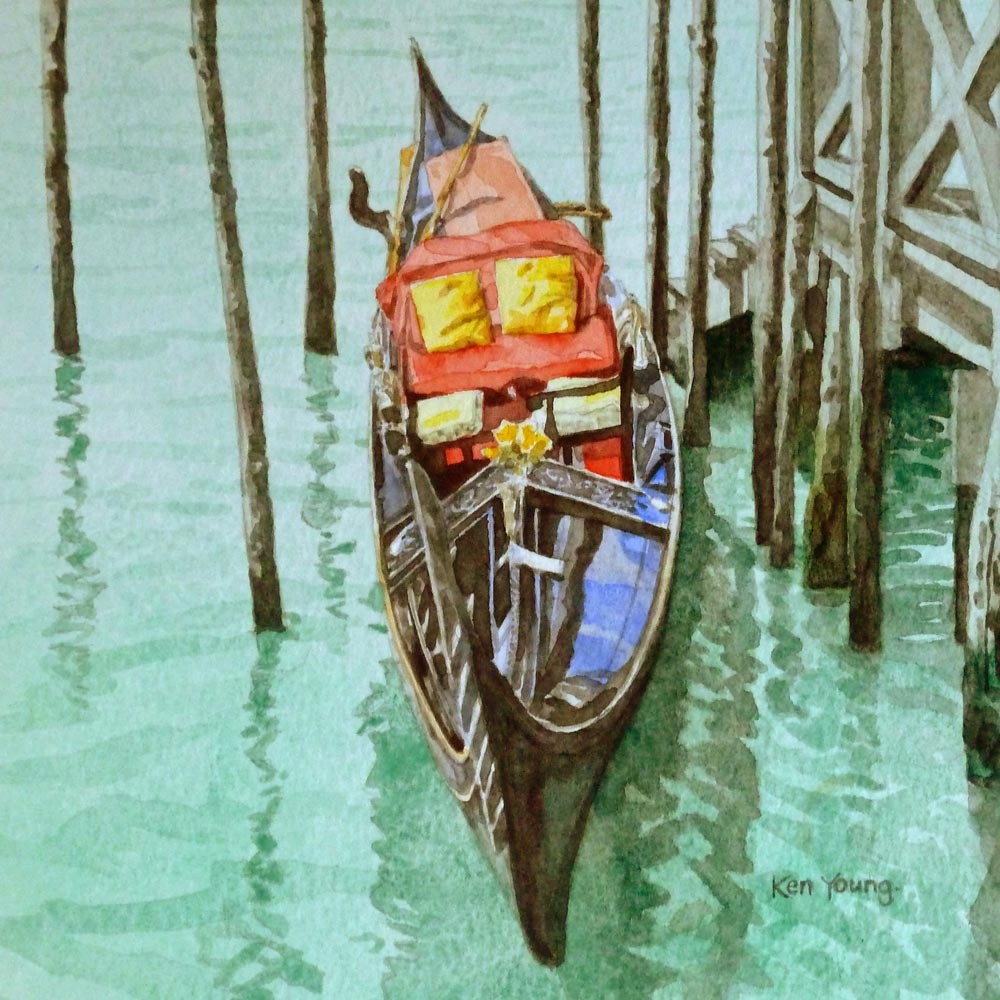 """Gondola with Golden Cushions"" original fine art by Ken Young"