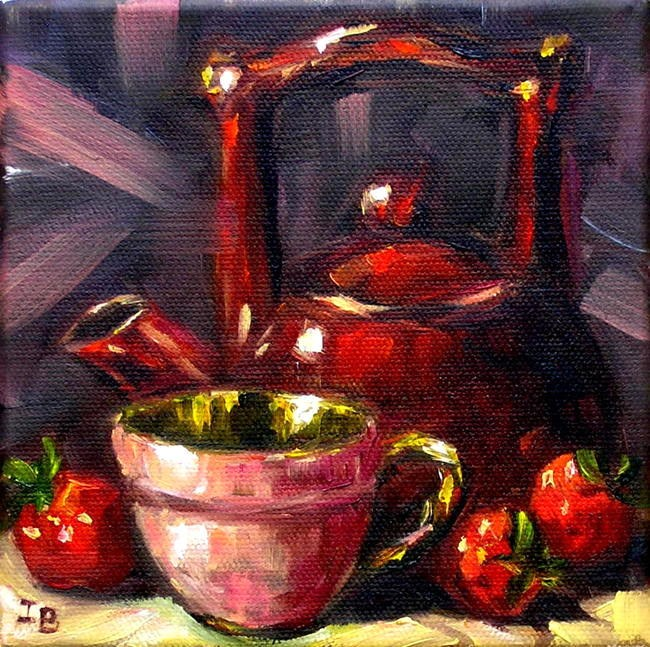 """Red Teapot"" original fine art by Irina Beskina"