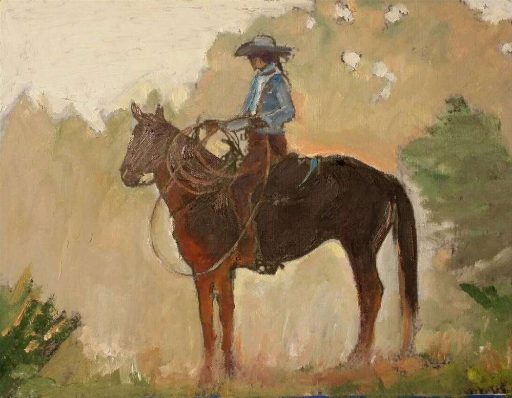 """The Cowgirl (8.5 x 10.5 oil on canvas sheet - no frame)"" original fine art by Ramon DelRosario"