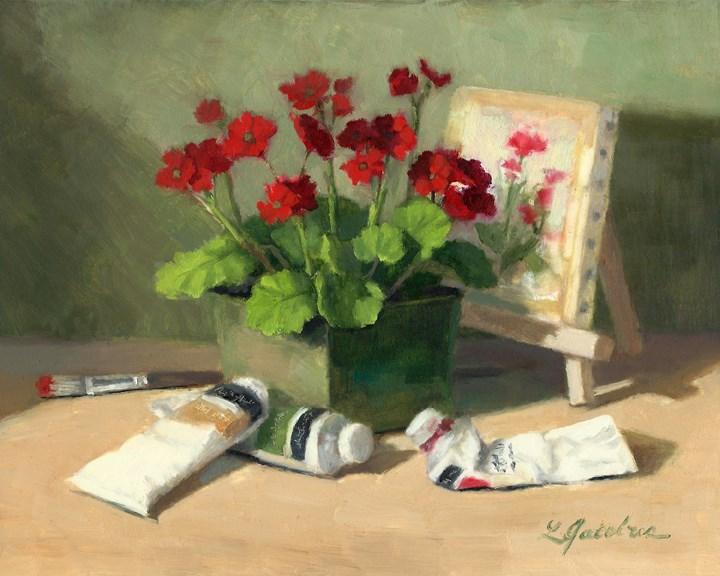 """Painted Flowers"" original fine art by Linda Jacobus"