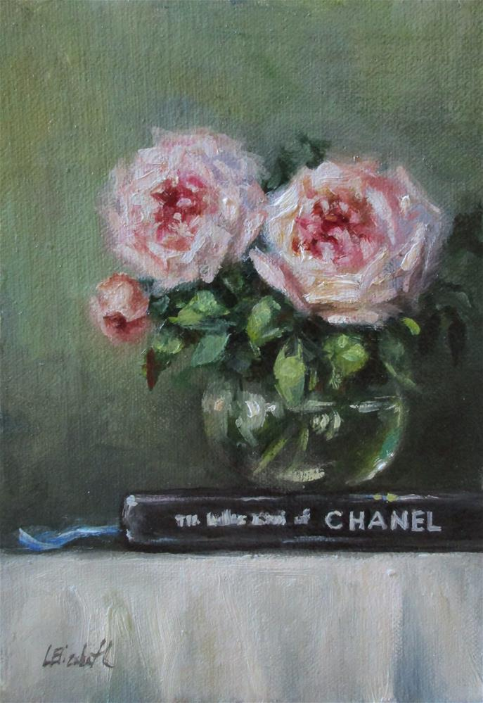 """Old English Roses and Chanel, 5x7 Oil on linen Panel"" original fine art by Carolina Elizabeth"