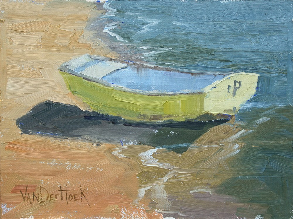 """Half In Half Out - Original Impressionist Style Painting of a Boat - Boat Painting"" original fine art by Kim VanDerHoek"
