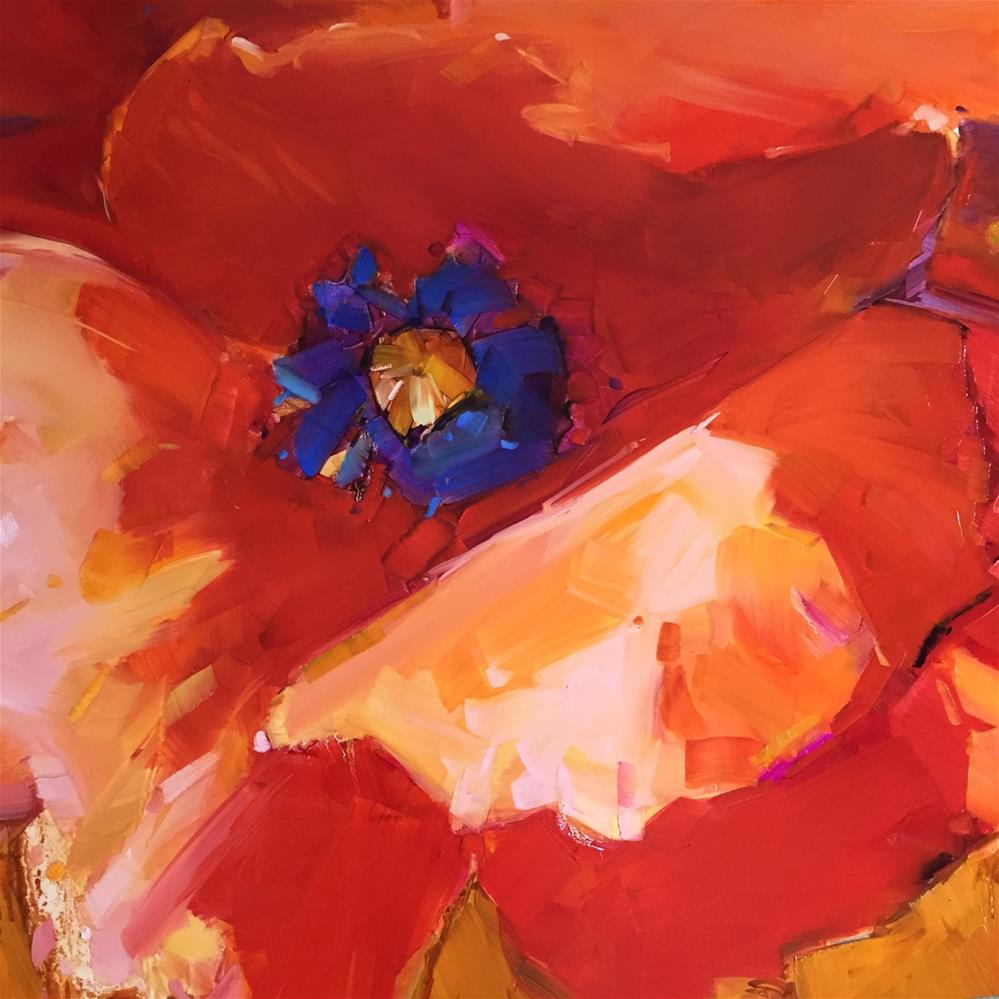 """Square Poppy"" original fine art by Kathleen Broaderick"