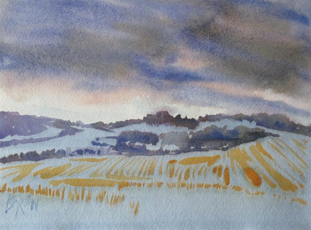 """""""Snowy Sunset by Larry Lerew 160807"""" original fine art by Larry Lerew"""