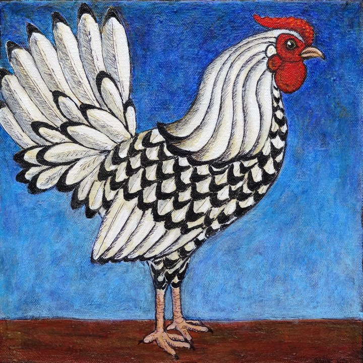 """Silver Spangled Hamburg Rooster"" original fine art by Ande Hall"