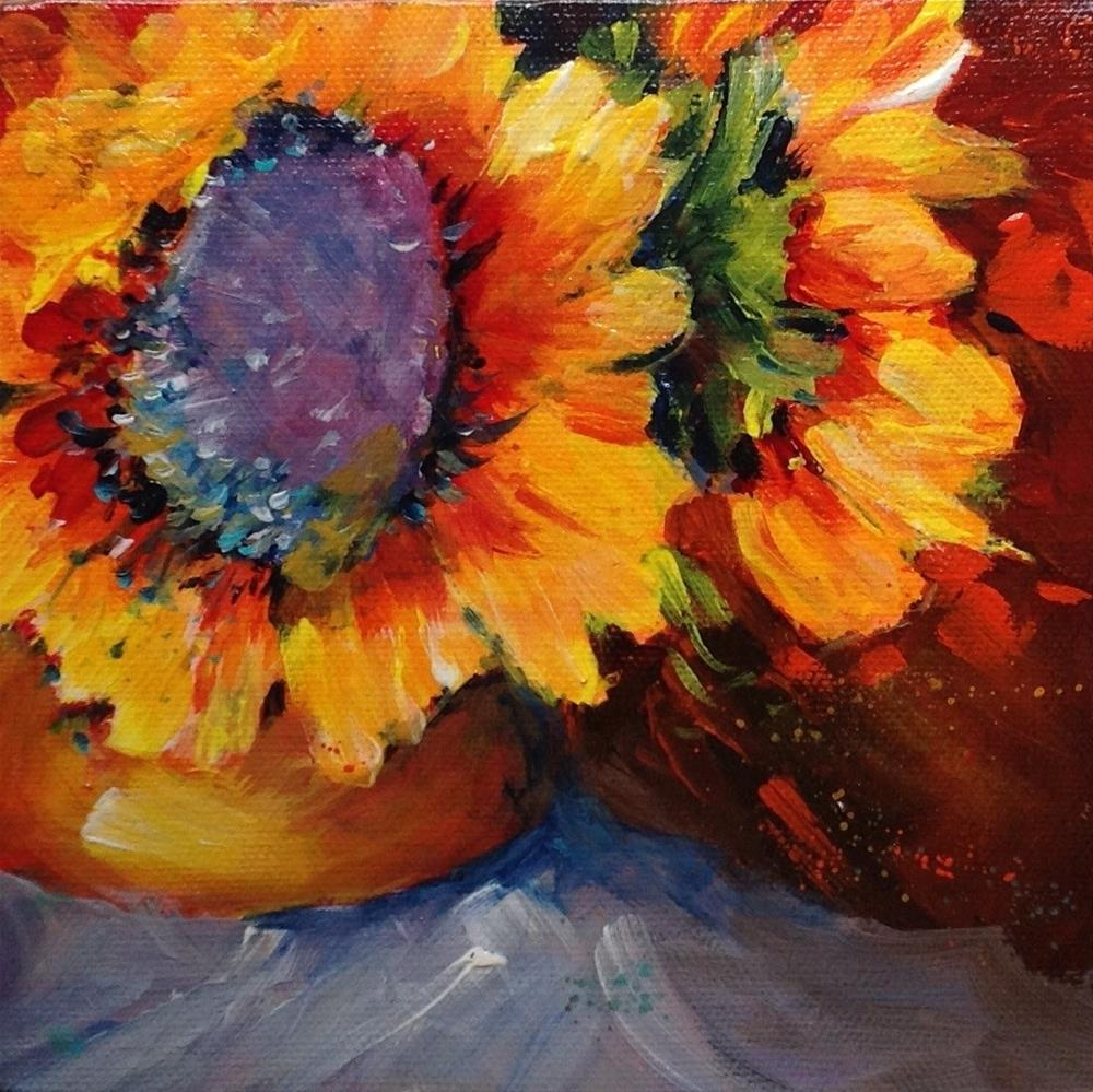 """Original sunflower flower floral still life painting"" original fine art by Alice Harpel"