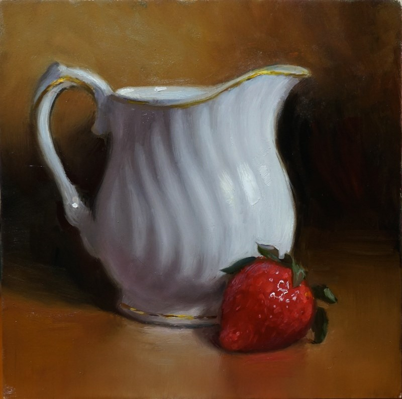 """Creamer and Strawberry"" original fine art by Debra Becks Cooper"