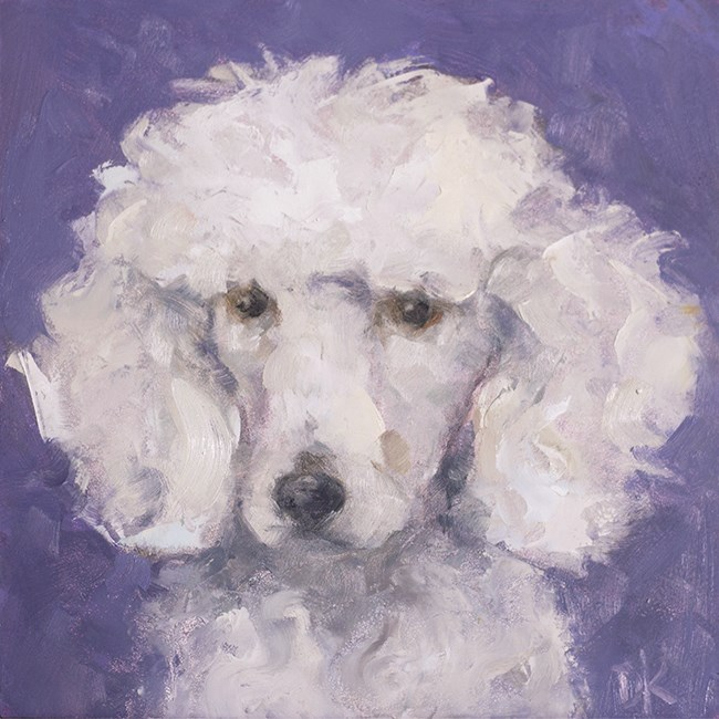 """Dog Days of Summer - LuLu - Poodle portrait by Deb Kirkeeide"" original fine art by Deb Kirkeeide"