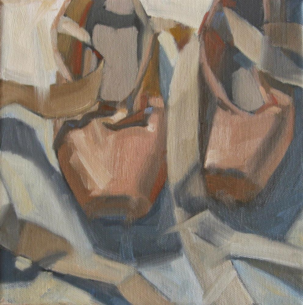 """Ballet shoes, waiting...  8 x 8  oil"" original fine art by Claudia Hammer"