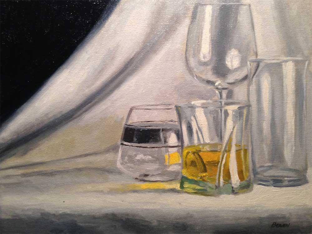 """Glasses On White With Rum"" original fine art by Chris Beaven"