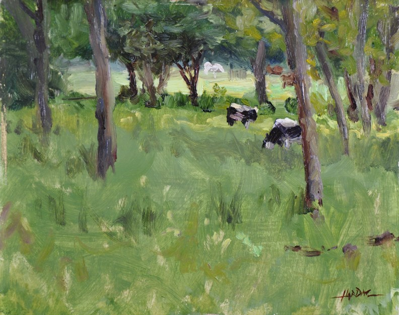 """""""Cows Are In The Meadow"""" original fine art by Scott Harding"""