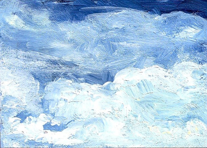 """ACEO Blue Sky White Clouds Skyscape Cloudscape by Penny Lee StewArt"" original fine art by Penny Lee StewArt"