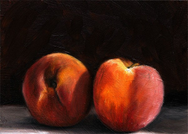 """Two peaches"" original fine art by Peter J Sandford"