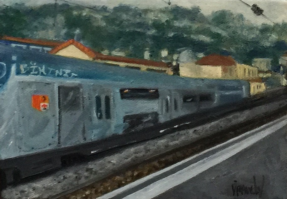 """Beaulieu Sur Mer Train Station"" original fine art by Stephanie Drawdy"
