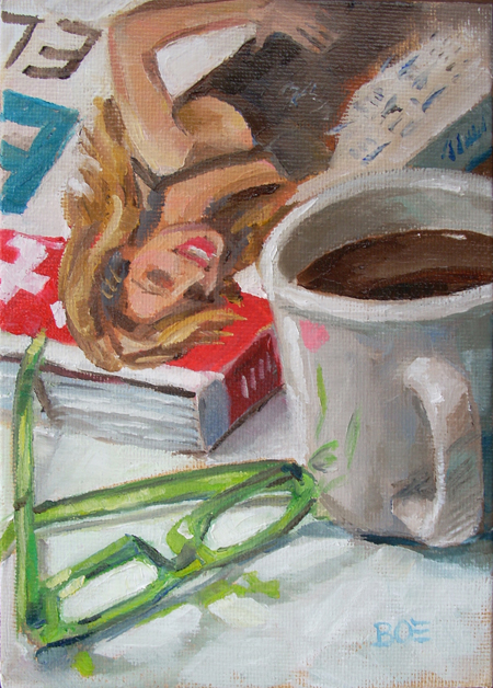 """Coffee Break"" original fine art by Karen Boe"