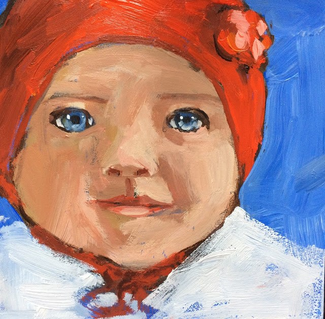 """Baby, It's COLD Outside, 6x6 inch Acrylic Painting by Kelley MacDonald"" original fine art by Kelley MacDonald"