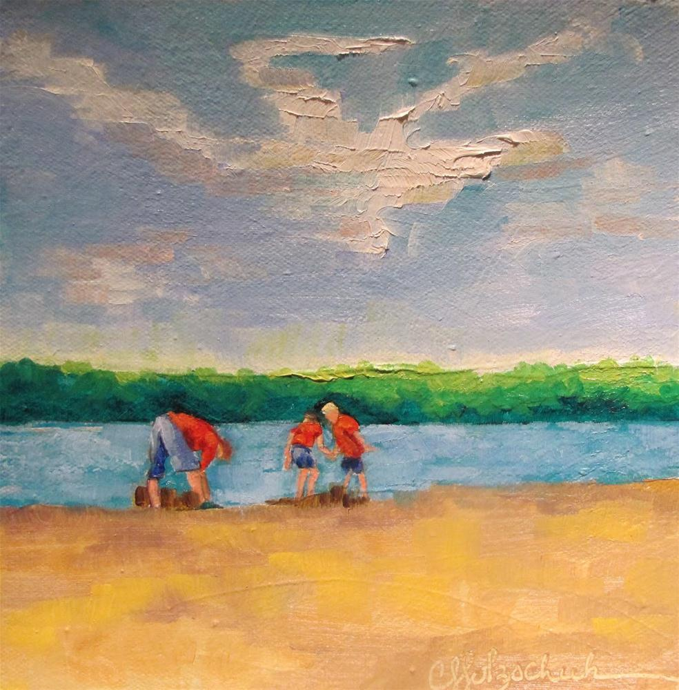 """Sand Castles  6x6  oil"" original fine art by Christine Holzschuh"