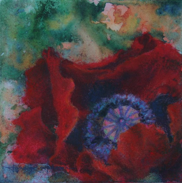 """Poppy on Green and Orange"" original fine art by Jana Johnson"