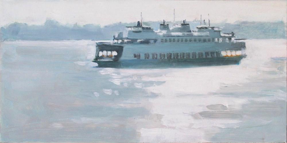"""Backlit Ferry"" original fine art by Gretchen Hancock"