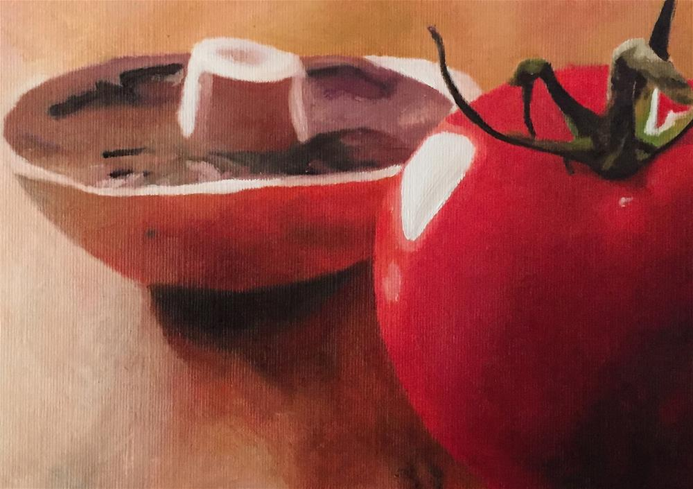 """Tomato & Mushroom"" original fine art by John Cameron"