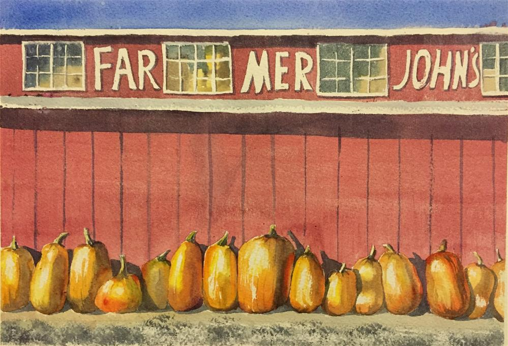 """Farmer John's pumpkins"" original fine art by Natasha Ramras"