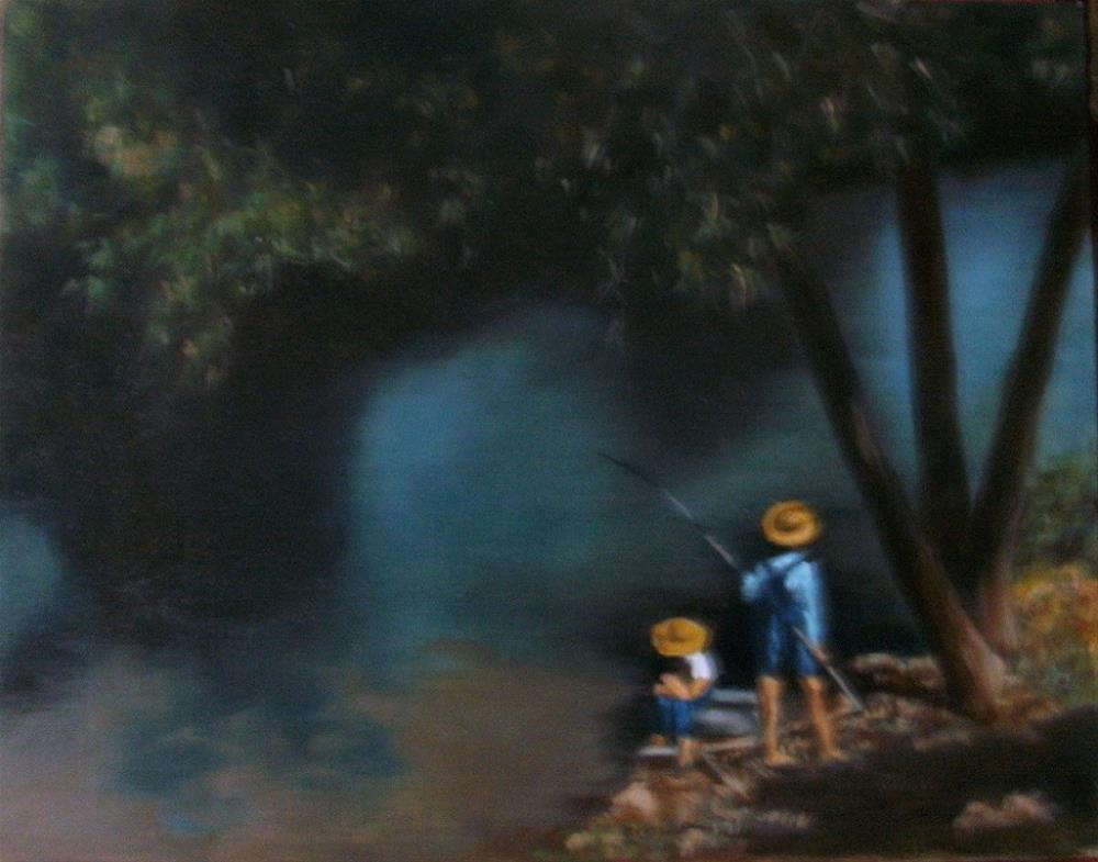 """Fishing on the Bayou"" original fine art by Lynn Darby"